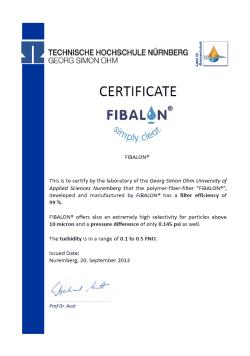 zwembad filter kwaliteit certificate fibalon