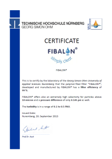 spa filter kwaliteits certificate fibalon